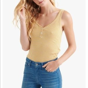 Lucky Brand Striped Button Detail Henley Tank Top